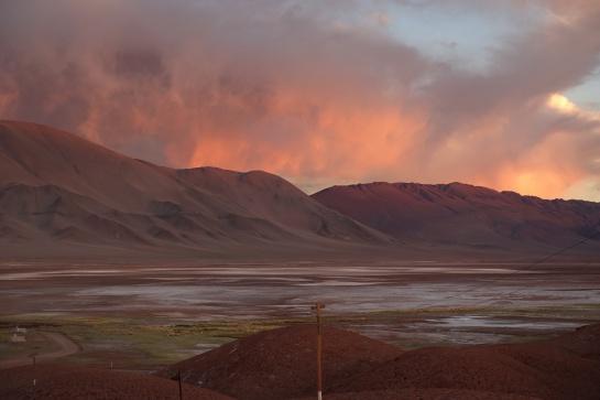 západ slunce v Tolar Grande